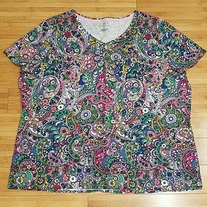Talbots Woman The Talbots Tee 3X Multicolor Print